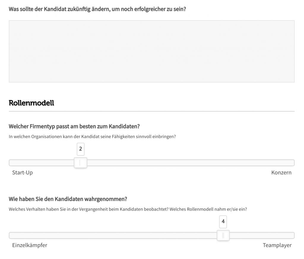 Eingabemaske Referencing-Tool mit Freitextfeld (Was sollte der Kandidat zukünftig ändern, um noch erfolgreicher zu sein) und Schiebereglern (Welcher Firmentyp passt, Start-Up oder Konzern; Wie haben Sie den Kandidaten wahrgenommen, Einzelkämpfer oder Teamplayer)